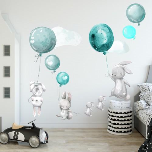 Naklejka ścienna dla dzieci - balony, chmurki 9835 - 1