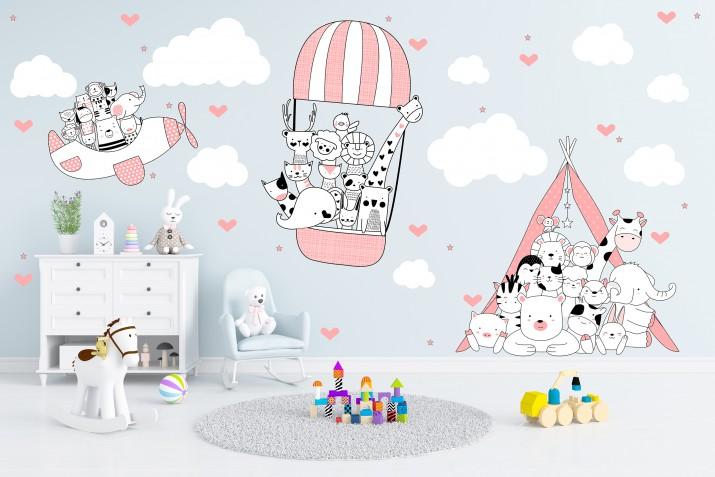Naklejki ścienne dla dziecka balon , zwierzęta  41193 - 1