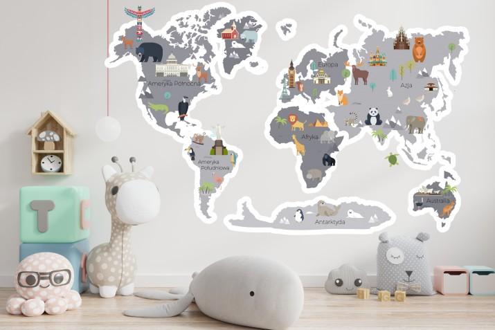 Naklejka ścienna - mapa świata szara 41377 - 1