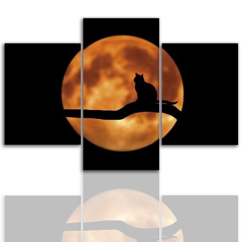 Tryptyk do salonu - Obraz, pełnia księżyca, kot 12245 - 1