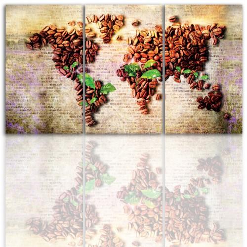 Tryptyk do salonu - Obraz, kawa, mapa świata 12191 - 1