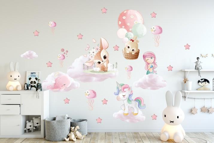 Naklejki dla dzieci na ścianę 41415 syrenka gwiazdki - 1
