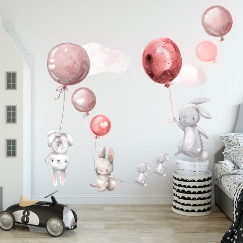 Naklejki na ścianę naklejka ścienna dla dzieci - balony, chmurki 9836 - 1