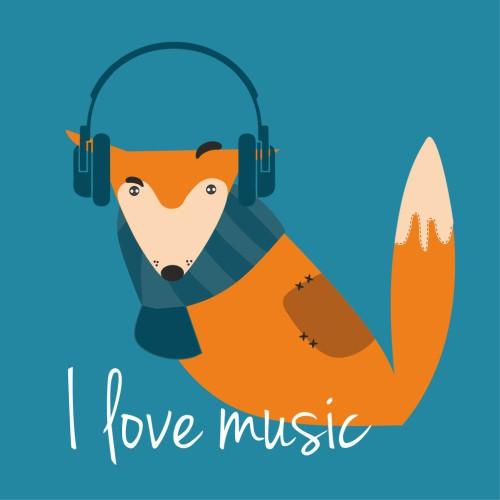 Obraz na płótnie Lis I love music 17997 - 1