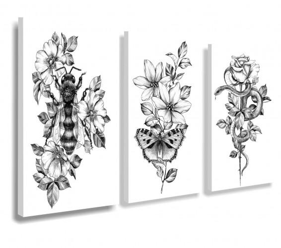 Obraz na ścianę do salonu sypialni kwiaty, vintage 20108 - 1