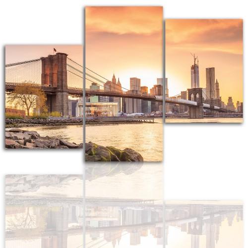 Tryptyk do salonu - Pejzaż, miasto, Nowy Jork 12015 - 1