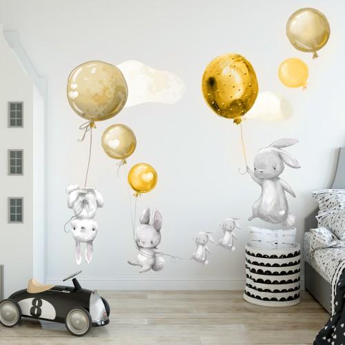 Naklejki dla dzieci na ścianę króliki 41032 żółte balony - 1