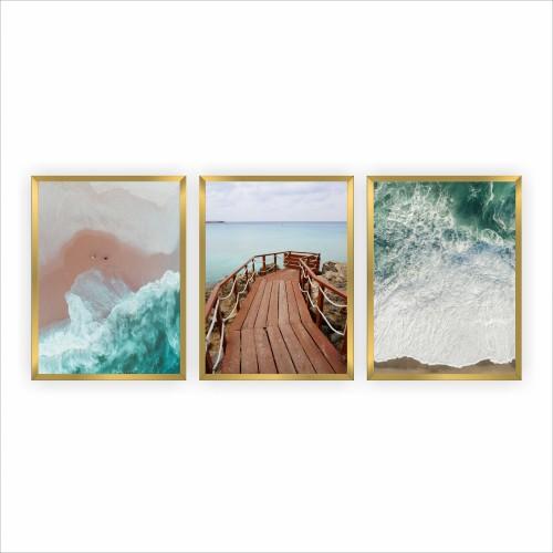 Komplet trzech plakatów w ramie plakaty na ścianę kalifornijskie wybrzeże KP098 - 1