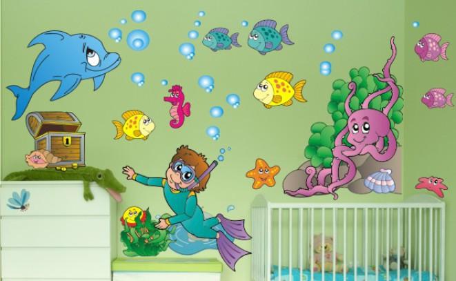 Naklejka ścienna dla dzieci -  morze, nurek zestaw 30 - 1