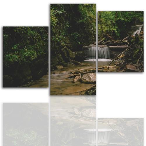 Tryptyk do salonu - Pejzaż, las, góry, strumień 12040 - 1