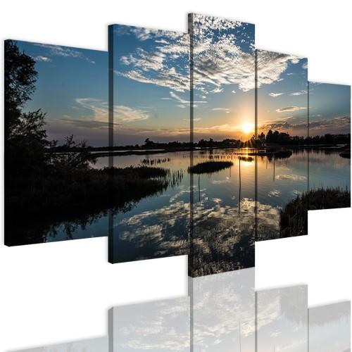 Obrazy 5 częściowe- Pejzaż, wschód słońca, jezioro 12345 - 1
