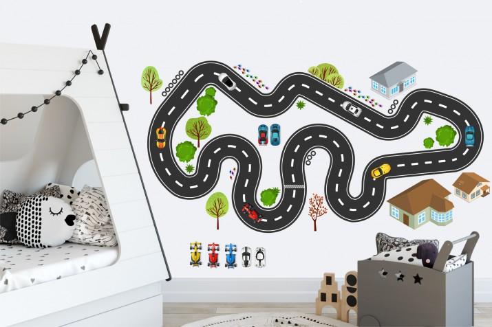 Naklejki dla dzieci - bajka, tor wyścigowy, droga, auta 15212 - 1