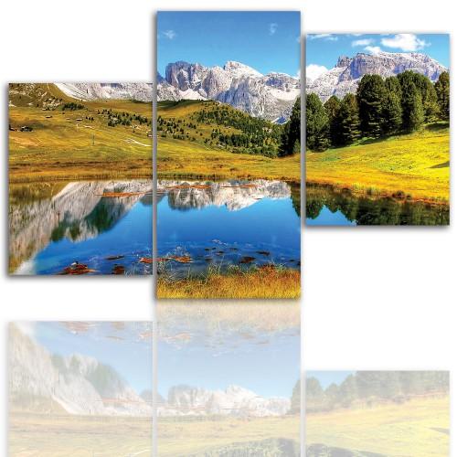 Tryptyk do salonu - Pejzaż, góry, jezioro 12004 - 1