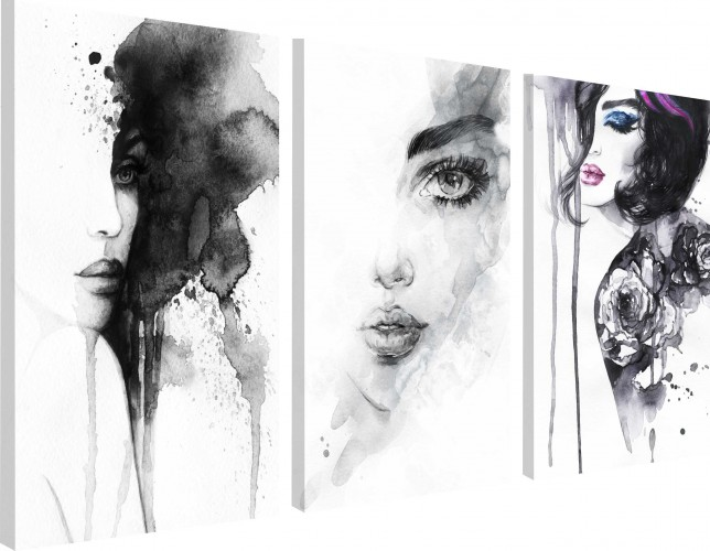 Obrazy na ścianę sypialni, salonu 20215 minimalistyczny tryptyk kobiecy - 1