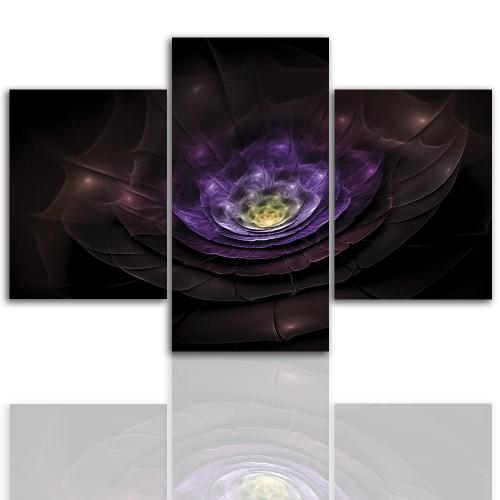 Tryptyk do salonu - Obraz, kolorowe wnętrze, fioletowy 12255 - 1