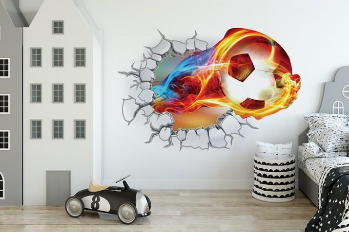 Naklejka na ścianę, dziura 3D piłka 6998 - 1