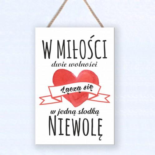 Zawieszka drewniana tabliczka ozdobna prezent na Walentynki  30084 - 1
