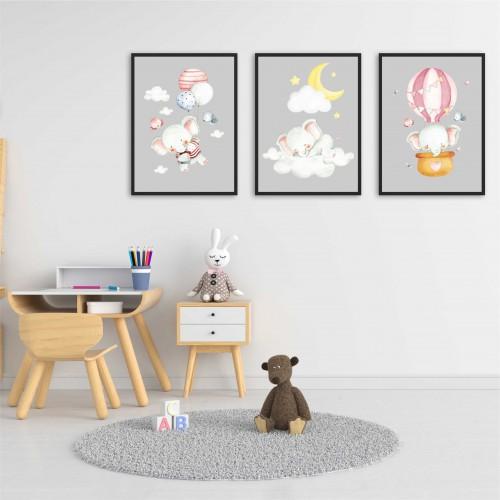 Zestaw trzech plakatów plakaty na ścianę w ramie słoniki z balonami KD028 - 1