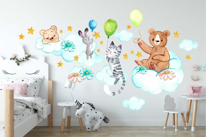 Naklejki dla dzieci - bajka, balony, misie, zwierzątka, chmurki 15046 - 1