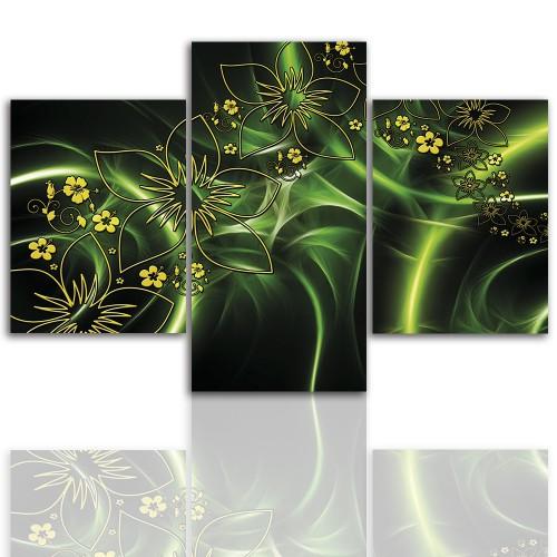 Tryptyk do salonu - Obraz, zielona abstrakcja 12252 - 1