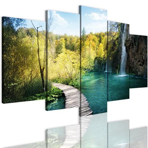 Obrazy 5 częściowe-  Las, jezioro, pejzaż 12353 - 1