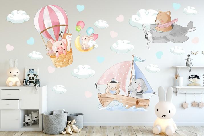 Naklejki dla dzieci na ścianę 41416 statek balon - 1