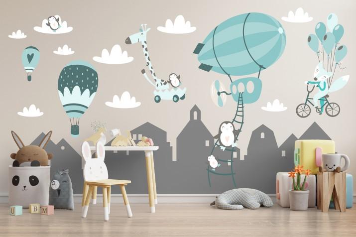 Naklejka na ścianę dla dzieci 41396 góry balony - 1