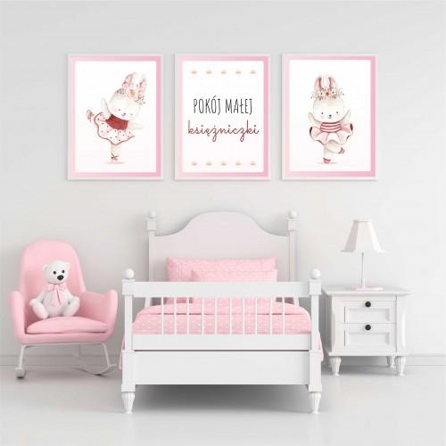 Zestaw trzech plakatów plakaty na ścianę w ramie pokój małej księżniczki KD021 - 1