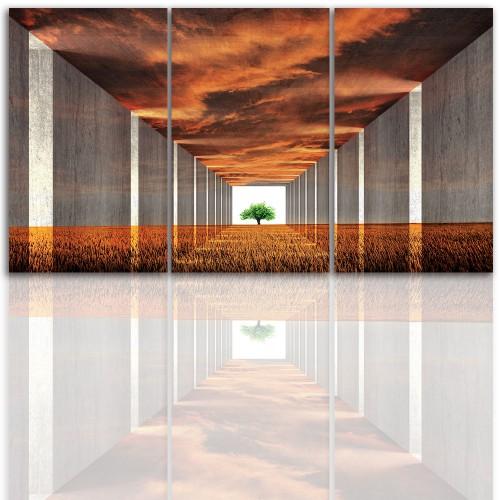 Tryptyk do salonu - Pejzaż, cytat, drzewo, niebo 12211 - 1