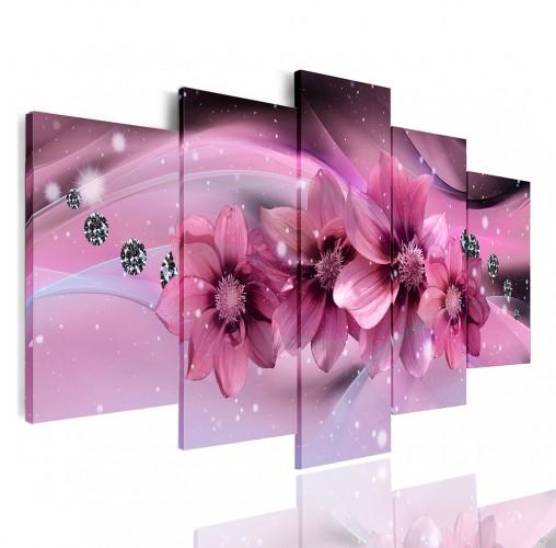 Obrazy 5 częściowe- Kwiaty, diamenty 12370 - 1