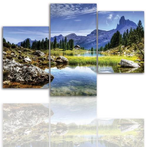 Tryptyk do salonu - Pejzaż, góry, jezioro 12003 - 1