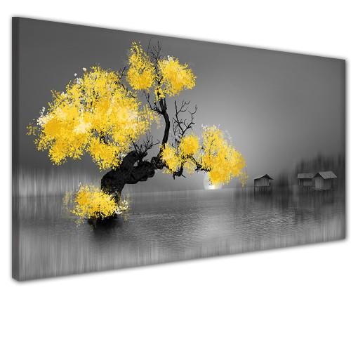 Obraz na ścianę do sypialni salonu żółte drzewo   41318 - 1