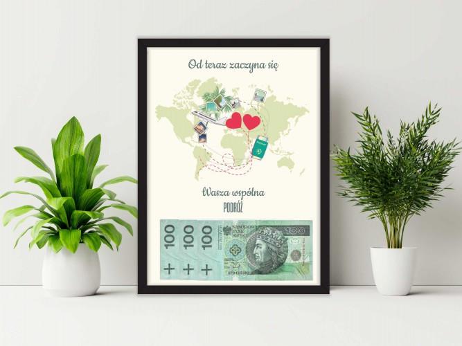 Plakat w ramie na pieniądze, podróż, ślub PP015 - 1