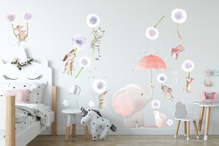 Naklejki na ścianę dla dzieci zabawa w zoo dmuchawce latawce 15131 - 1