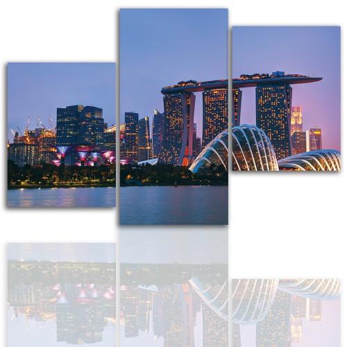 Tryptyk do salonu - Pejzaż, miasto, Singapur, zachód słońca 12025 - 1