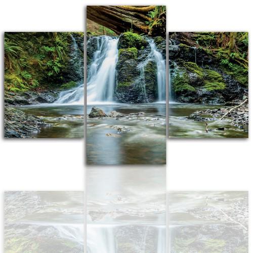 Tryptyk do salonu - Pejzaż, rzeka, wodospad, 12219 - 1