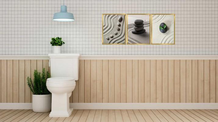 Zestaw plakatów trzy plakaty na ścianę w ramie do łazienki AG019 - 1