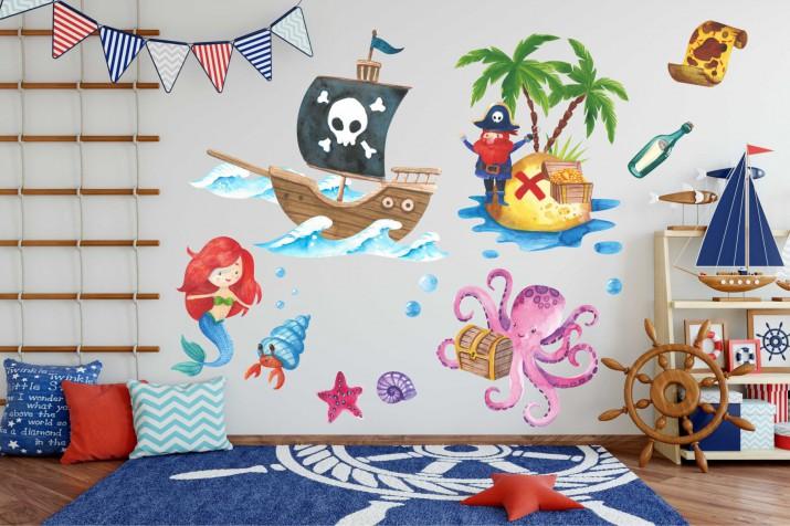 Naklejki na ścianę dla dzieci -  Morze, wyspa, piraci, statek 10374 - 1