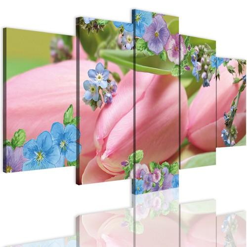 Obrazy 5 częściowe- Kwiaty, tulipany 12330 - 1