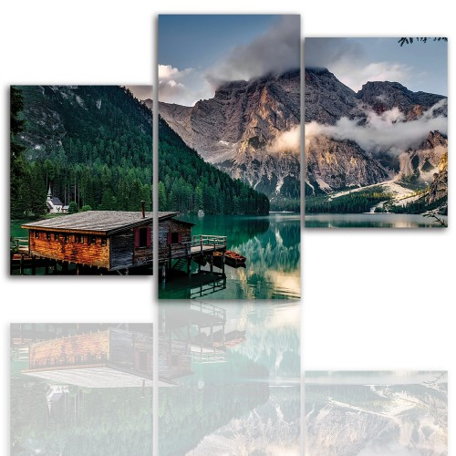 Tryptyk do salonu - Pejzaż, góry, jezioro 12027 - 1