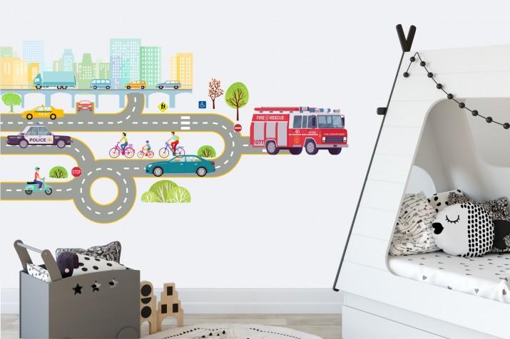 Naklejki dla dzieci - bajka, tor wyścigowy, droga, auta, domki 15220 - 1