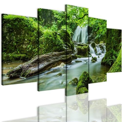 Obrazy 5 częściowe-  Las, pejzaż, wodospad 12285 - 1