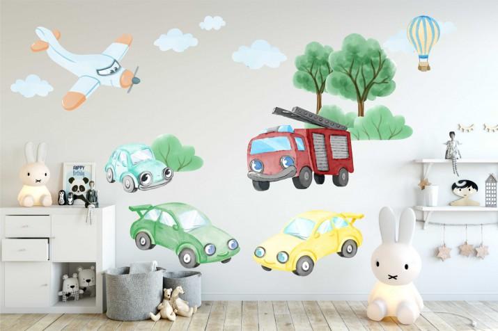 Nalepki dla dzieci na ścianę - 40212 auta, samoloty, straż - 1