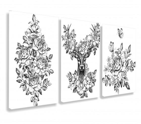 Obraz na ścianę do salonu sypialni czarno-białe kwiaty, vintage, jeleń 20113 - 1