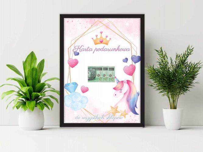 Plakat w ramie na pieniądze unicorn  PP007 - 1