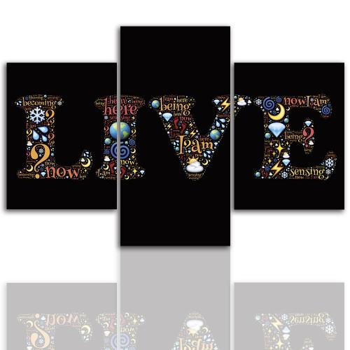 Tryptyk do salonu - Obraz, napis, live 12263 - 1