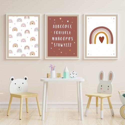 Zestaw trzech plakatów plakaty na ścianę w ramie boho alfabet KD010 - 1