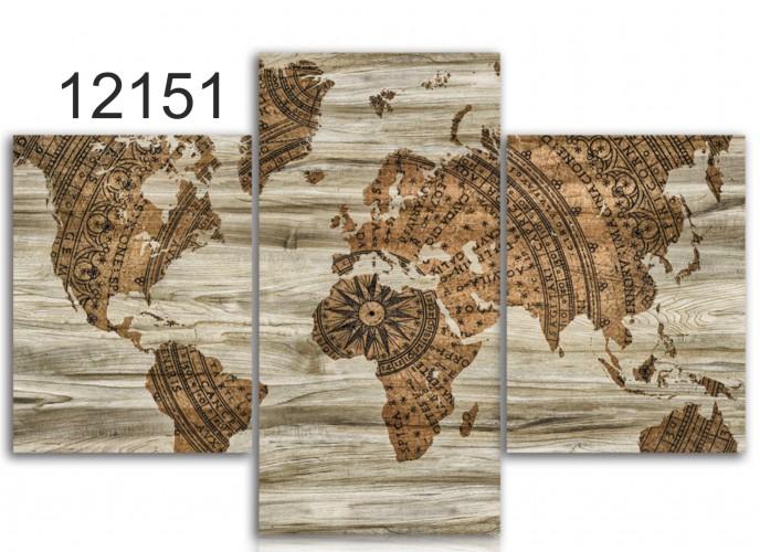 Tryptyk do salonu - Obraz, mapa świata 12151 - 1