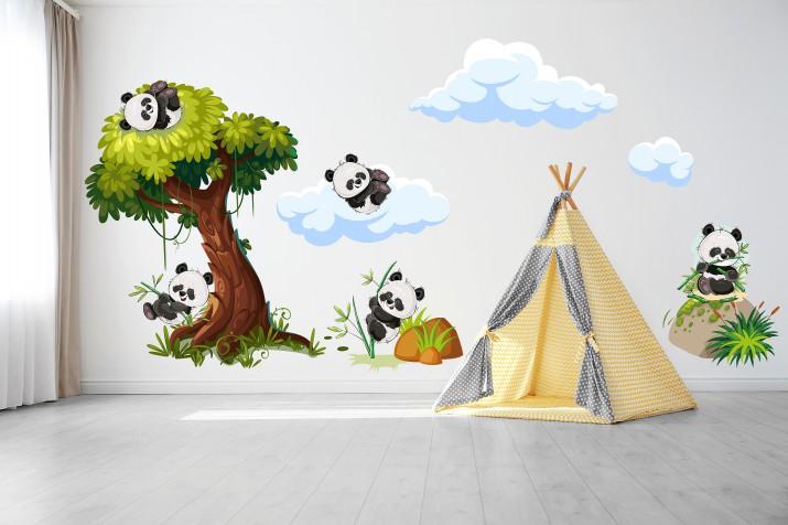 Naklejki na ścianę dla dzieci  40998 pandy drzewo - 1