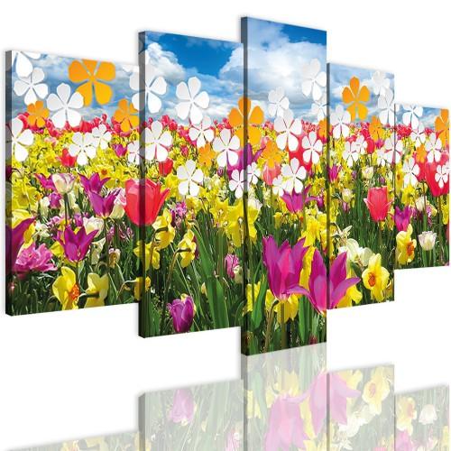 Obrazy 5 częściowe- Kwiaty, łąka 12327 - 1